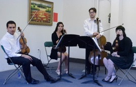 Members of the Asteria Quartet. From left - Kiram Rajamani, Leah McCarthy, Shade Zajac, and Evie Boughton Photo by Howard Owens